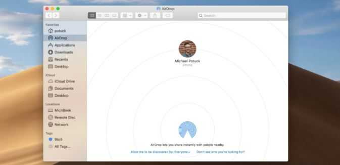 Airdrop from iPhone to Mac