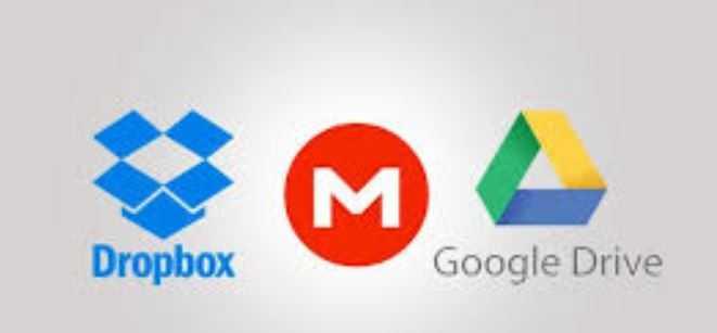 Dropbox, Mega and Google Drive